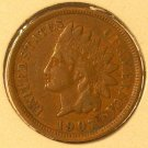 1907 Indian Head Penny Partial Liberty VG #217
