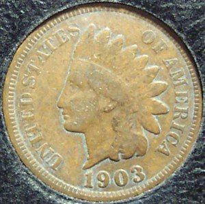 1903 Indian Head Penny Partial Liberty VG #487