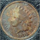 1902 Indian Head Cent VG PARTIAL LIBERTY #524
