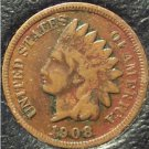 1908 Indian Head Cent VG Partial Liberty #943