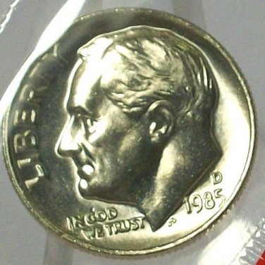 1985-D Roosevelt Dime MS65 F/B In the Cello #557