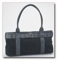 Genuine Suede Leather Purse in Black
