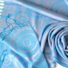 Reversible Jacquard Pashmina Shawl - (Blue)