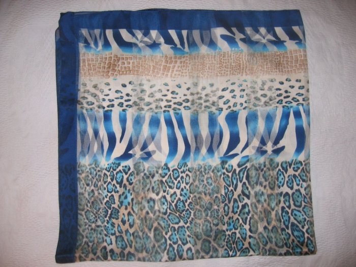 Italian Large Square Scarf - Blue and Beige Tones