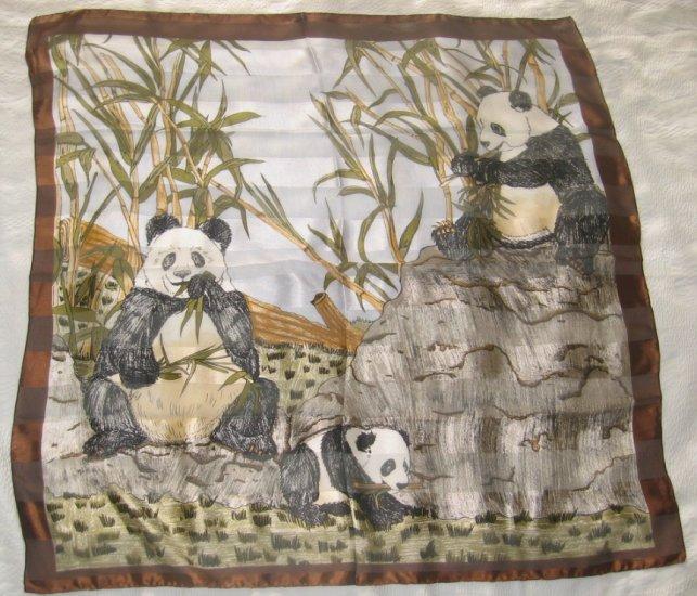 Large Italian Square Scarf - Pandas