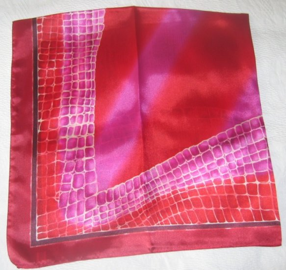 Large Italian Square Scarf - Abstract Crocodile Prints - Fuchsia