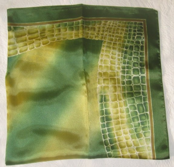 Large Italian Square Scarf - Abstract Crocodile Prints - Green