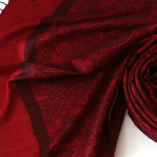 Pashmina Style Jacquard Paisley Shawl - Red and Black