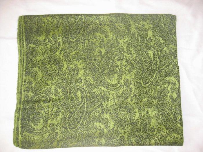 Pashmina Style Jacquard Paisley Shawl - Green and Black