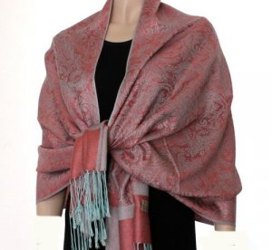 Pashmina Style Jacquard Paisley Shawl - Carmine Pink and Light Blue!