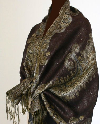 Metallic Paisley Pashmina Style Shawl - Chocolate Brown