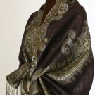 Metallic Paisley Pashmina Style Shawl - Chocolate Brown