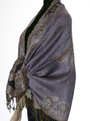 Metallic Paisley Pashmina Style Shawl - Lavender.
