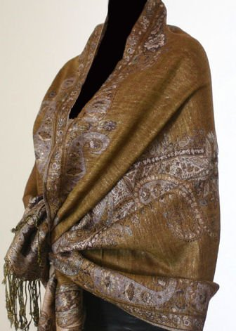 Metallic Paisley Pashmina Style Shawl - Taupe Color.