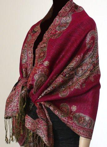 Metallic Paisley Pashmina Style Shawl - Dark Pink.