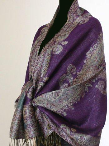 Metallic Paisley Pashmina Style Shawl - Purple.