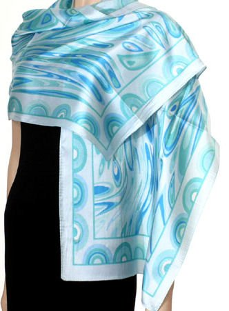 Hand Printed Satin Scarf - Blue ~ Green