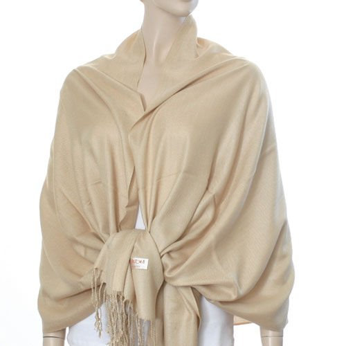 Silky Solid Pashmina Style Wrap  (Beige) - 100% Viscose