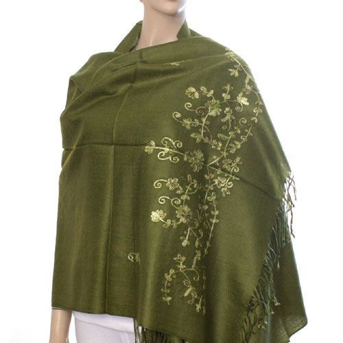 Flower Embroidery Pashmina Style Wrap - Olive