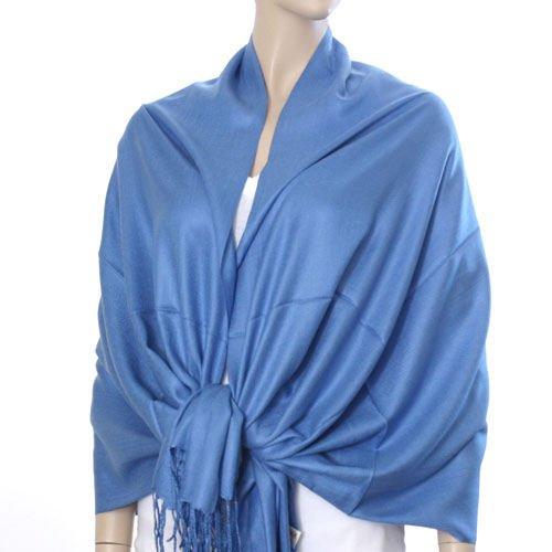 Silk Blend Pashmina Style Shawl - Blue