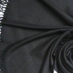 Silk Blend Pashmina Style Shawl - Black