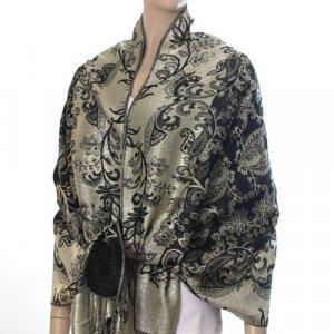 Rich Metallic Gitter Pashmina Shawl with Flower Patterns- Black Accent