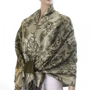 Rich Metallic Gitter Pashmina Shawl with Flower Patterns- Olive Accent
