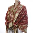 Rich Metallic Gitter Pashmina Shawl with Flower Patterns- Red Accent