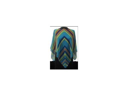 Multicolor Geometric Lines Poncho - Blue