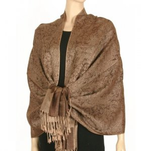 Jacquard Paisley Design Pashmina - Latte Brown & Gold