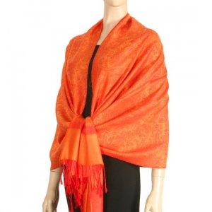 Jacquard Paisley Design Pashmina - Red & Tangerine