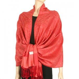 Jacquard Paisley Design Pashmina - Berry