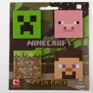 Minecraft Pins - Creeper, Dirt Block, Pig and Steve - 4 Pack Officially Licensed