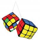 Rubik's Cube Plush Danglers - Rear-View Mirror Fuzzy Dice