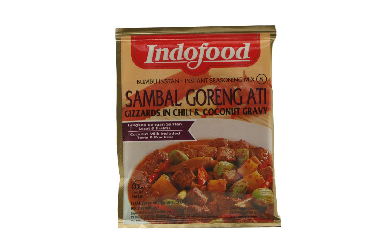 Indofood Sambal Goreng Ati (Glizzards in Chili & Coconut Gravy Mix) Seasoning Mix, Set Of 2 Sachets