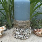 New Seascape Pillar Candle Seashells Ocean Beach Luau Party Nautical