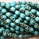 100 Turquoise (12mm) Skull Beads - Day of the Dead - Goth