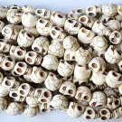 100 Bone White (12mm) Skull Beads - Day of the Dead - Goth