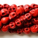 100 Red (12mm) Skull Beads - Day of the Dead - Goth