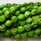 100 Green (12mm) Skull Beads - Day of the Dead - Goth