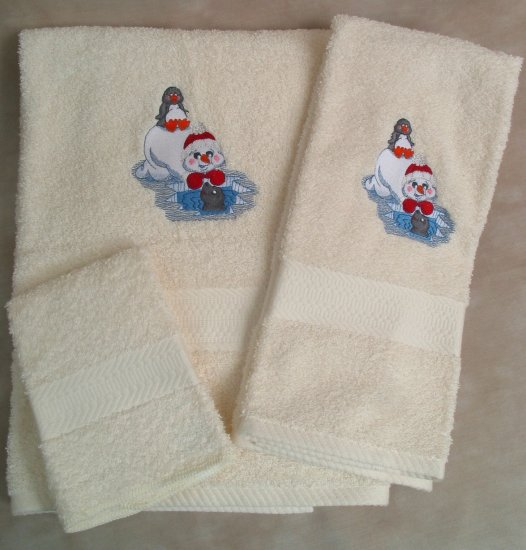 Embroidered Snowman, Seal, Penguin Bath Towel Set - Christmas