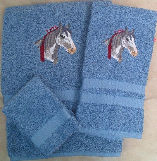Embroidered Show Draft Horse Medium Blue Bath Towel Set