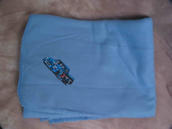 Polyester Nascar Racing Truck Blue Fleece Throw