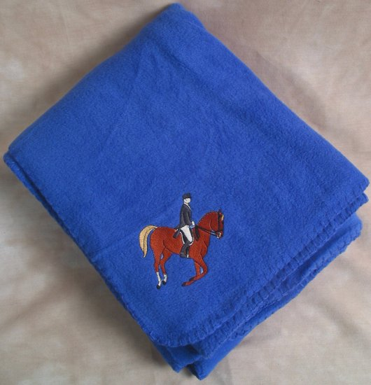 Polyester Dressage Horse Royal Blue Throw Blanket