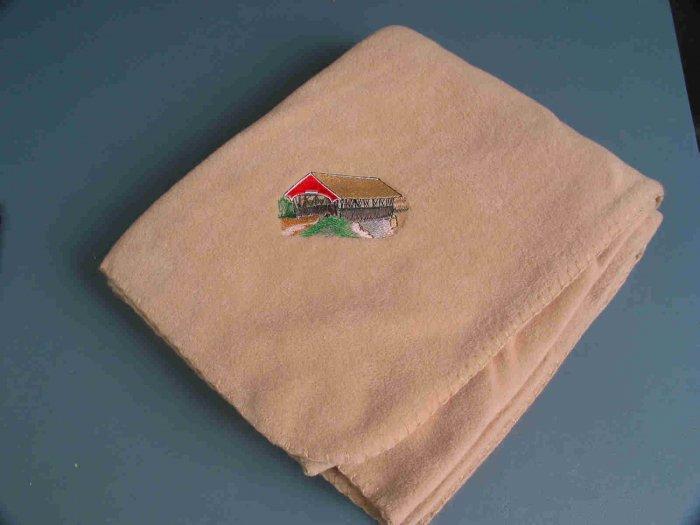 Polyester Covered Bridge Beige Fleece Throw