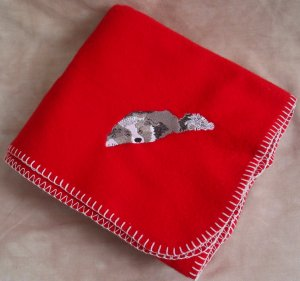 Polyester Border Collie Dog Red Fleece Throw