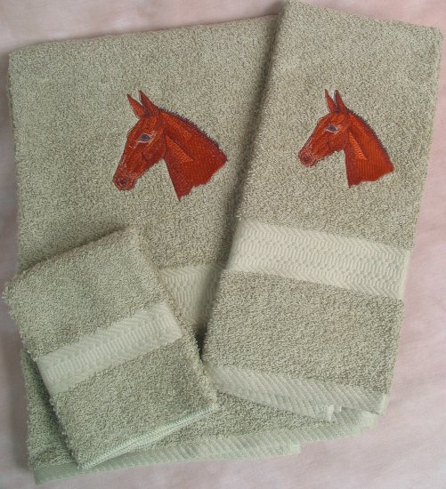 Embroidered Mule Head on Sage Bath Towel Set
