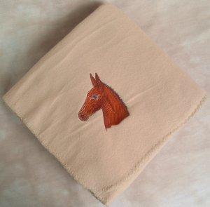Polyester Mule Head Beige Fleece Throw Blanket