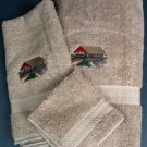Embroidered Covered BRIDGE Beige Bath Towels Set