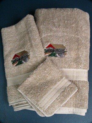 Embroidered Covered BRIDGE Beige Bath Towels Set